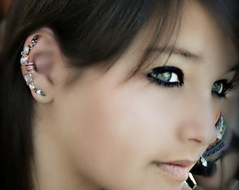 AuroraCrystal Ear Cuff Wrap Earring Bohemian Hipster Silver/Golden tone Pierceless Cartilage EarClip Handmade by Earlums