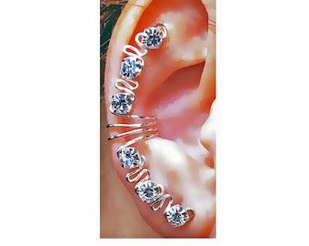 Aster Ear Cuff Wrap, Clear Rhinestones  Silver or Golden Tone