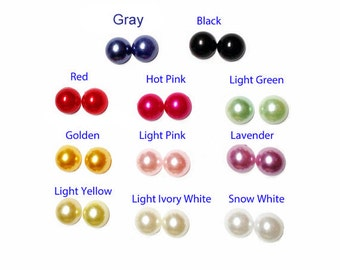 10mm Keloid Pressure  Colored Faux Pearls Strong Magnetic Earrings