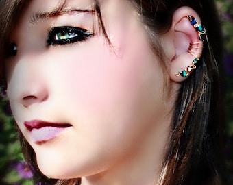 Iris - Multicolor Glass Beads  Silver Wire Ear Cuff Wrap