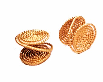 One Pair Yellow Gold-Filled Twist Wire Clip-On Small Pressure Earrings Handmade in USA