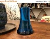Sale Vintage Blenko Glass Handmade Turquoise Blue Vase with Pontil