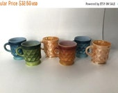 Sale - Set of 6 Mid Century Fire-King 8 oz. Glass Coffee Mugs by Anchor Hocking