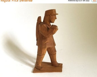 Woodenware Hand Carved Wood Naked Man Folk Art Vintage Antique Nude Male Stand Sculpture Strong Packing