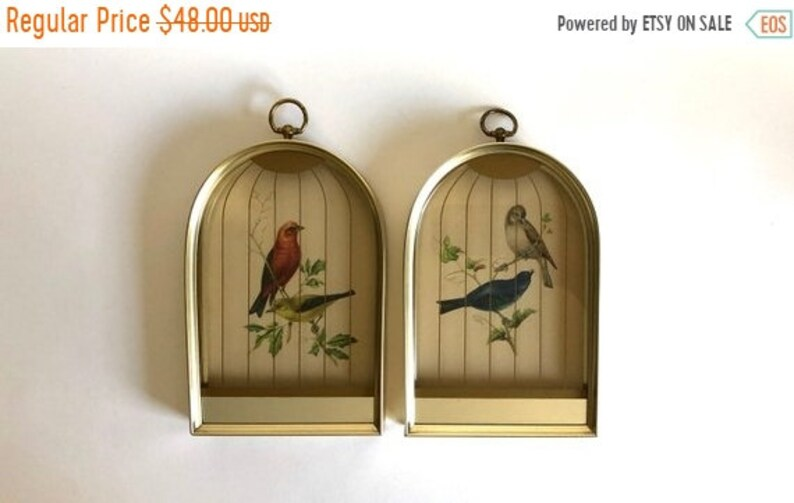 Sale Set of 2 Vintage 1960's Birds in Bird Cages Glass Mirrored Art Wall  Hangings in Metal Frames by TMC Chicago