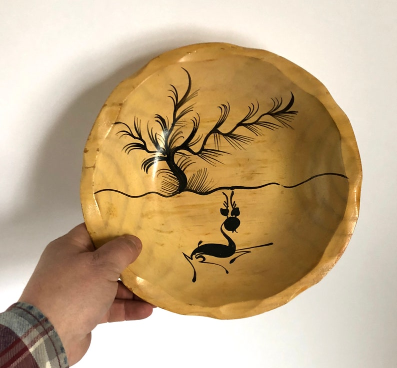 Sale Vintage Mexican Hand Painted with Deer /& Tree