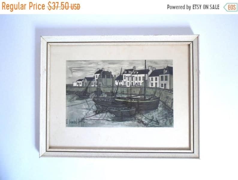 Surprising Sale Vintage C 1955 Bernard Buffet Port Breton Harbor Scene Print In Frame Interior Design Ideas Tzicisoteloinfo
