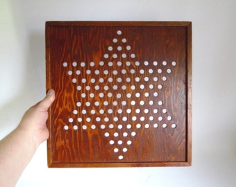 """Sale - Mid Century Homemade Wooden Chinese Checkers Game Board - 16"""" Square"""