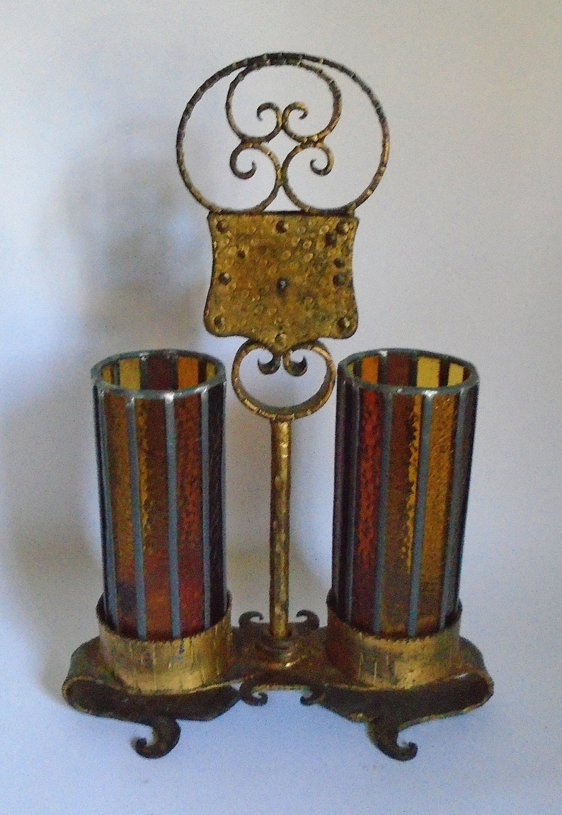 Sale Antique Arts /& Crafts Movement Heavy Hammered Cast Iron Lock and Key Design Pillar Candle Holder w Vintage Amber Stained Glass Hurrica