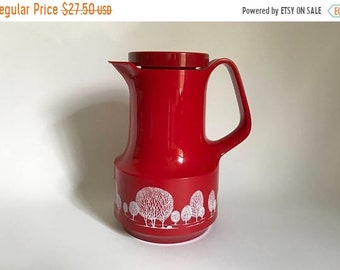 Sale - Vintage 1970's West Germany Red Thermos with Trees 32 oz. Carafe