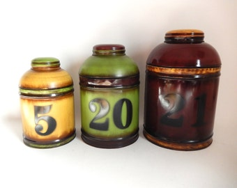 Set of 3 Vintage Faux Apothecary Metal Canisters