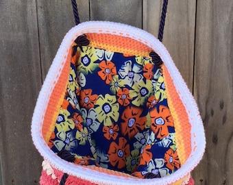 SPRINGTIME HAPPY ORANGE Malia Crochet Shoulder Bag with Orange Yellow White Flower lining Yarn + Chai