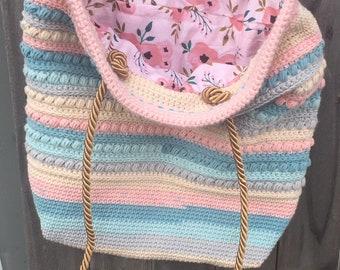 SPRINGTIME PINK DELIGHT Malia Crochet Shoulder Bag lined Yarn + Chai