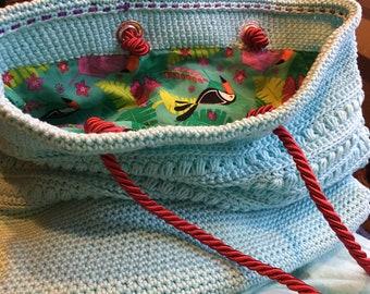 Malia Crochet Shoulder Bag COOL SPRING GREEN with Tropical lining Yarn + Chai