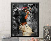 Native American Wall Art with Dancer Framed Print, First Year Paper Anniversary Gift for Husband Boyfriend, First Nation Art Poster