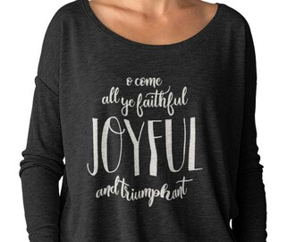 17092a21b99b68 Weihnachten-t-Shirt für Frauen O Come All Ye Gläubigen