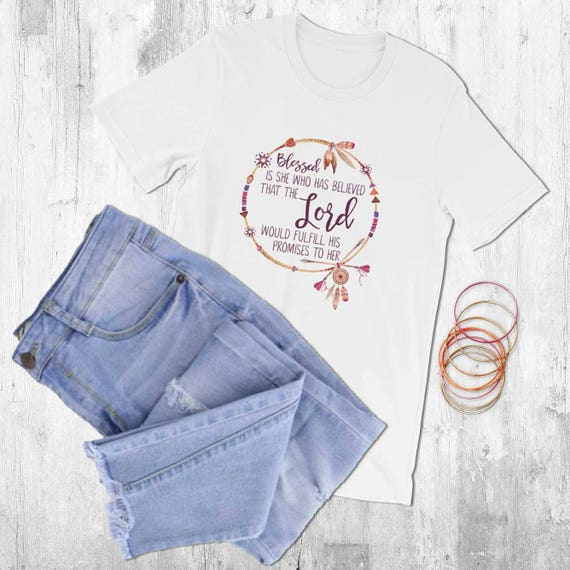 Catholic T Shirt for Women with Bible Verse: Blessed is She, Christian  Clothing, Extra Small to Plus Size, Birthday Gift for Religious Woman