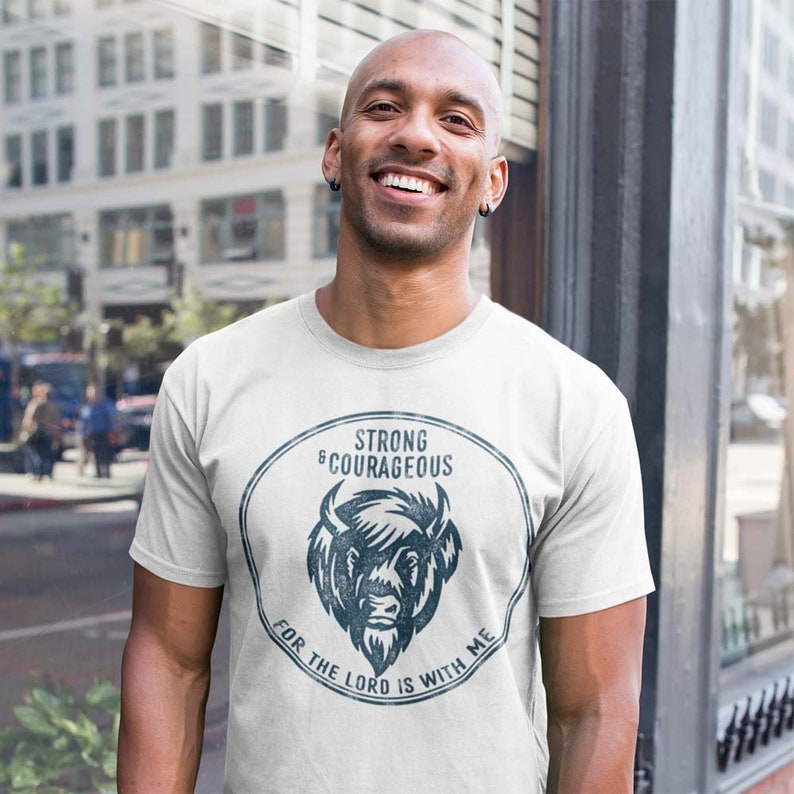 Christian Tshirt for Men saying Strong and Courageous image 0