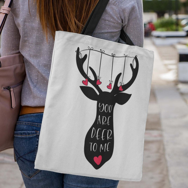 Tote Bag for your Dear One with a Silhouette of a Deer and image 0