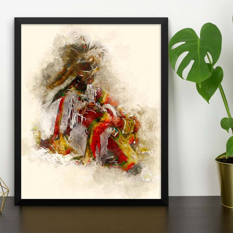 Native American Wall Art of Dancer Framed Home Décor Art for image 0