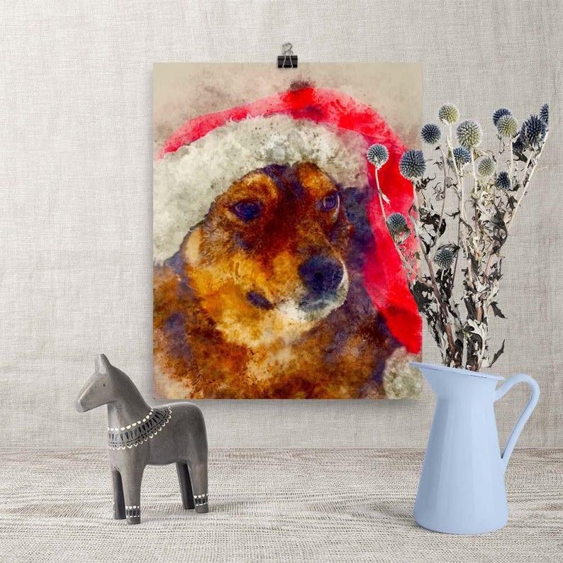 Downloadable Print Adorable Christmas Dog with Santa Hat image 0