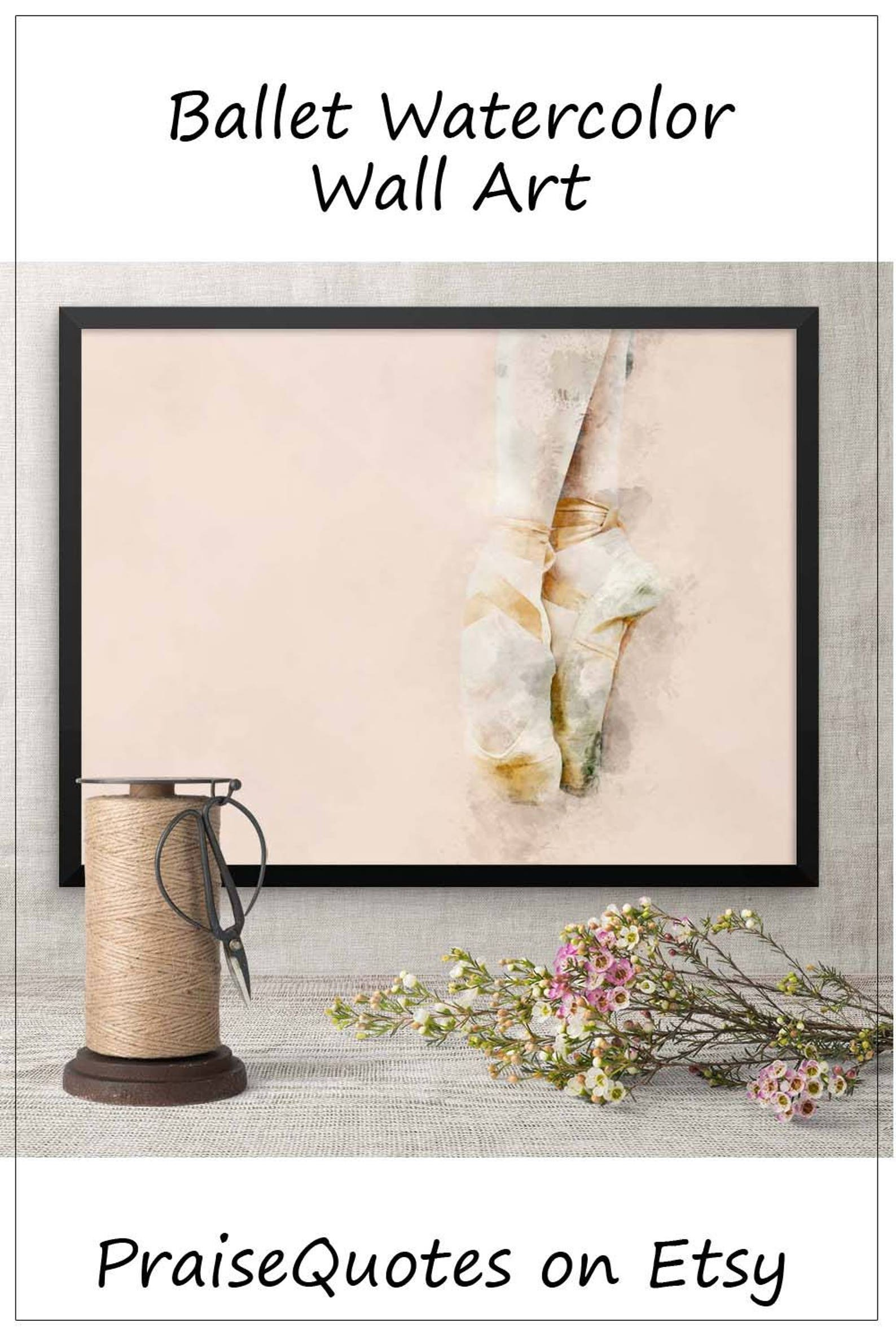 framed art, pink ballet shoes, art for baby girl nursery, birthday gift for dancer dance coach, romantic watercolor picture