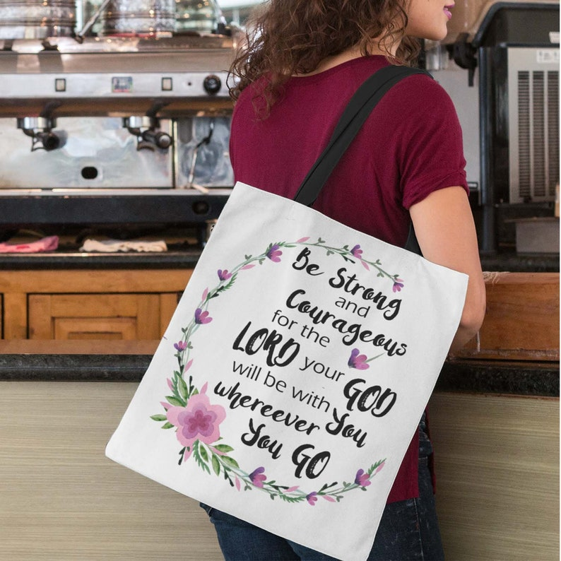 Tote Bag Be Strong and Courageous Shoulder Bag Christian image 0