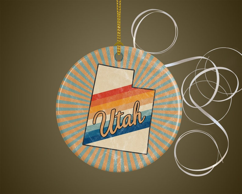 Utah Ornament  Distance Gift for Travel or Housewarming  70s image 0