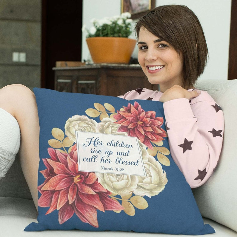 Mothers Day Throw Pillow with Bible Verse: Her Children Rise image 0