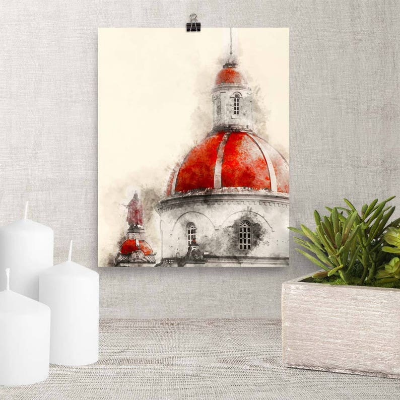 Downloadable Art Church Dome and Statue Watercolor image 0