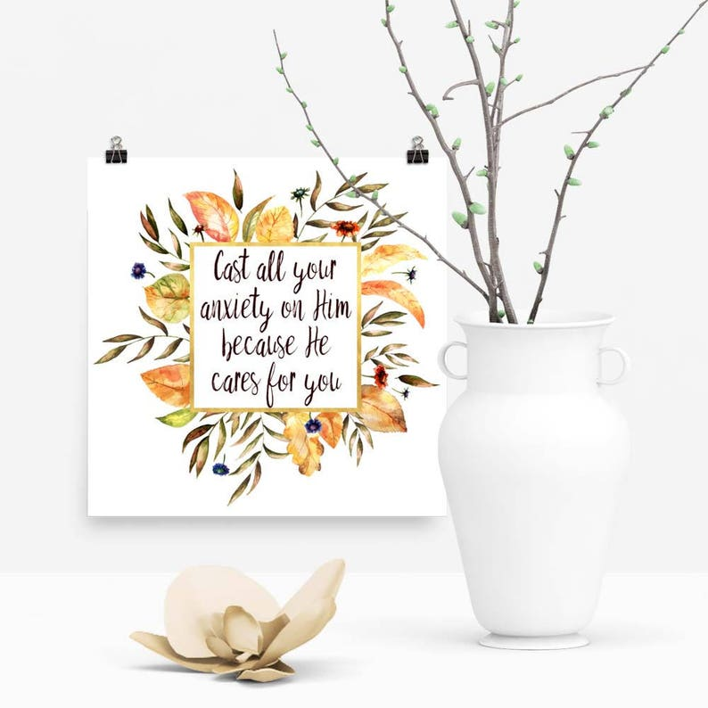 Download Print Cast all Your Anxiety on Him Christian Bible image 0