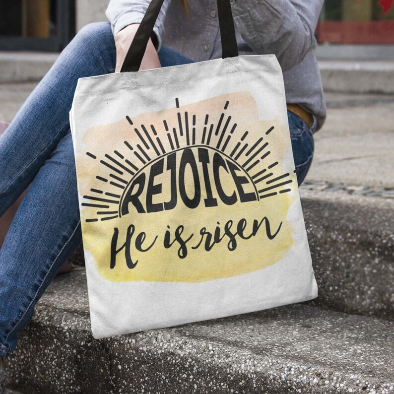 Easter Tote Bag For Gift Baskets  Rejoice He Is Risen image 0