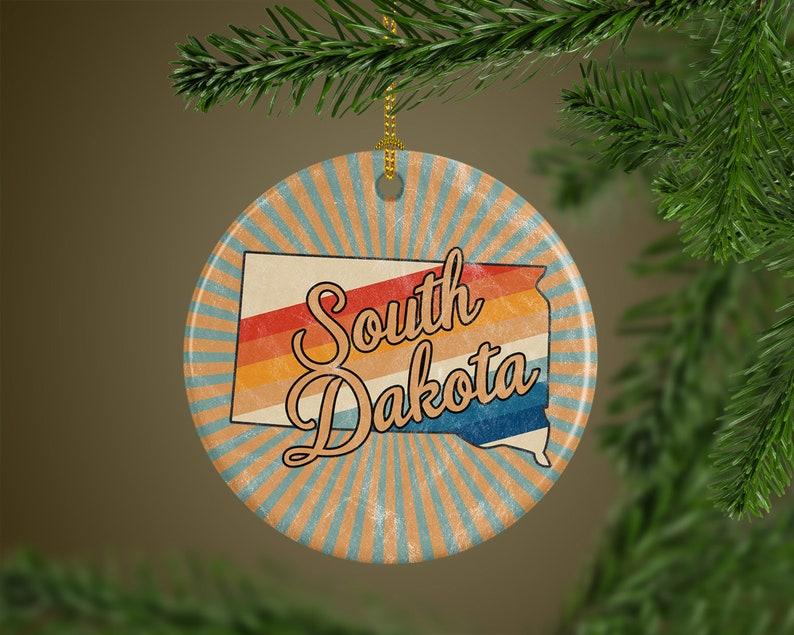 South Dakota Ornament  Travel Keepsake  Distance Gift for image 0
