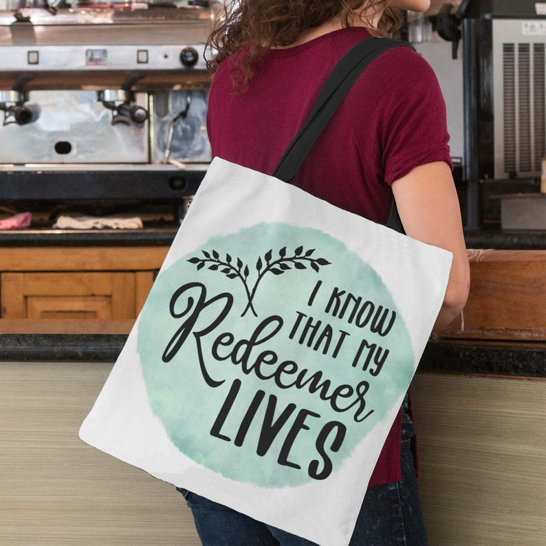 Easter Tote Bag  I Know That My Redeemer Lives Christian Tote image 0