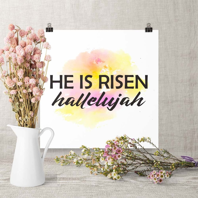 Download Print He is Risen Printable Jesus Art Easter image 0