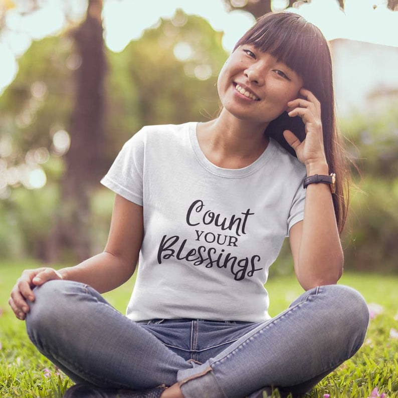Christian Clothing T Shirt for Women  Count Your Blessings image 0