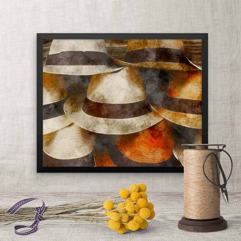 Framed Picture Panama Hats Art Living Room Housewarming image 0