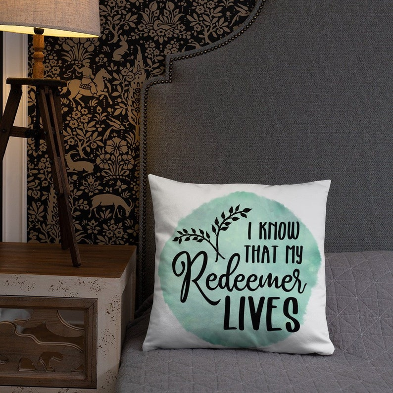 Easter Throw Pillow with Words  I Know that my Redeemer Lives image 0