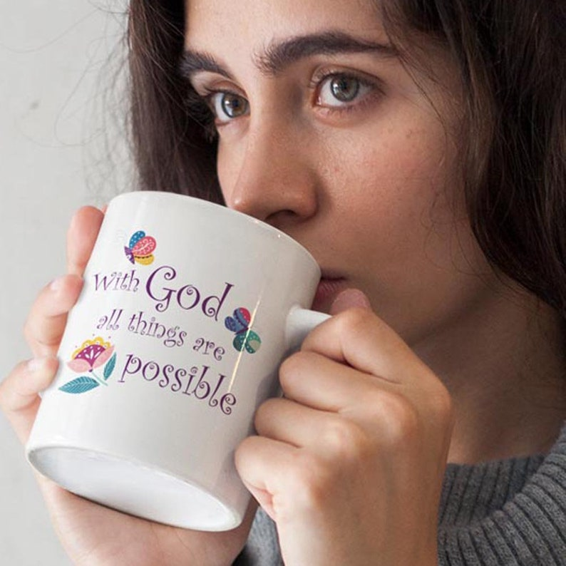 Coffee Cup With God All Things are Possible Scripture Tea image 0