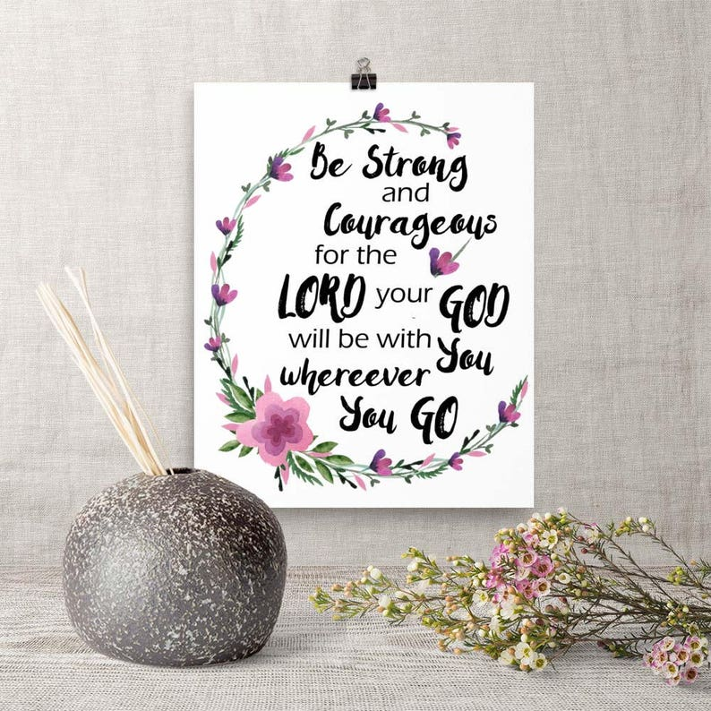 Downloadable Art Be Strong and Courageous Printable Bible image 0
