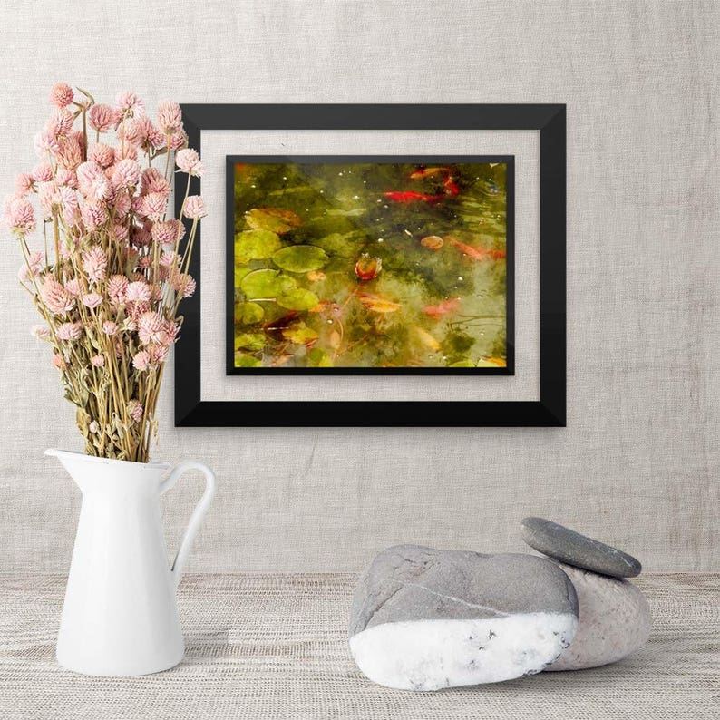 Framed Watercolor Art Koi Fish Painting Pisces Gift image 0