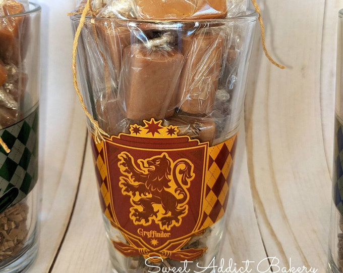 Featured listing image: HARRY POTTER BUTTERBEER caramel cups - collectable glassware filled with half a pound of delicious butterbeer flavored caramels