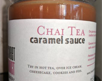 Chai Tea Caramel Sauce - Spruce up a cup of tea or over ice cream - make great gifts for BRIDESMAIDS, MOTHER'S Day, CHRISTMAS, birthdays