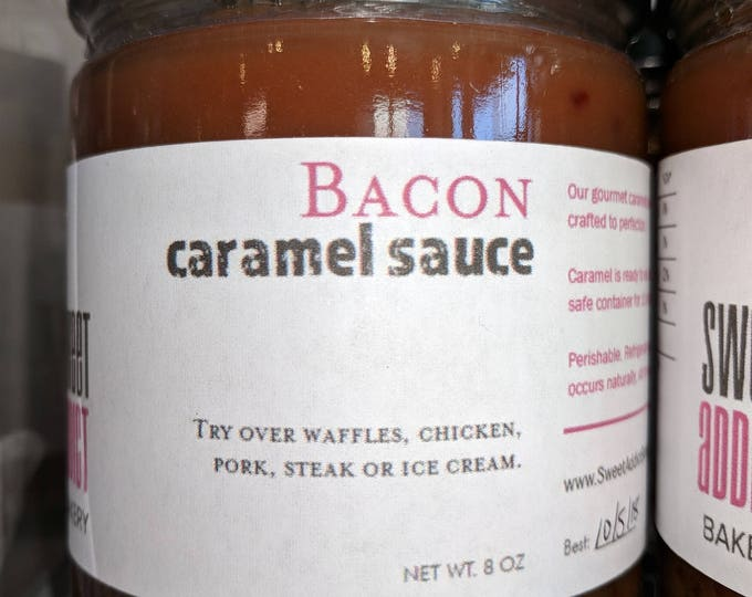 Bacon Caramel Sauce - Great as a meat glaze or spice up your ice cream - make great gifts for GROOMSMEN, FATHER, HUSBAND