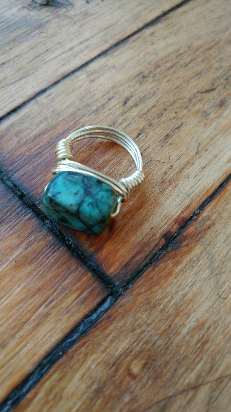 African turquoise blue green silver ring natural ring
