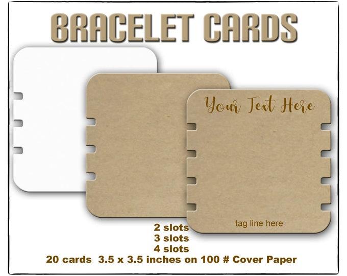 3.5 x 3.5 Bracelet Display 20 personalized Bracelet Cards Jewelry Display Custom Bracelet Cards Bracelet Holders Craft Show Display
