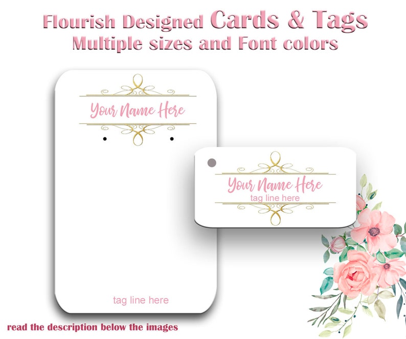 Earring Cards Tags Jewelry Display Cards Thank you Tags Necklace Cards Custom Earring Cards Earring Display