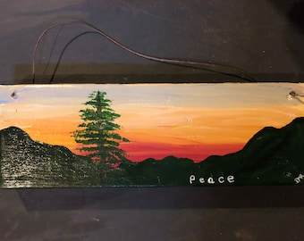 Sunset - Peace - wall plaque - FREE SHIPPING