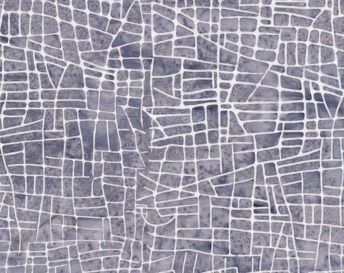 Island Batik Fabric Mosaic Lines Periwinkle Steam Engine Collection