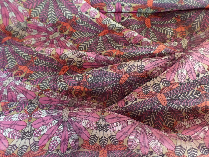 Liberty of London Silk  Chiffon Dakota Feathers Print Red 02089168A A Colorway